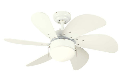 "Westinghouse 7814565 30"" Turbo Swirl in White with White Blades Indoor Rated Ceiling Fan"
