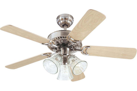"Westinghouse 7843565 42"" Newtown in Brushed Nickel with Reversible Birds Eye Maple and Light Maple Blades Indoor Rated Ceiling Fan"
