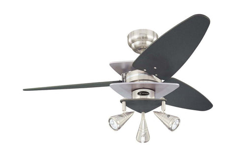 "Westinghouse 7850700 42"" Vector in Brushed Nickel with Reversible Graphite and Silver Blades Indoor Rated Ceiling Fan"