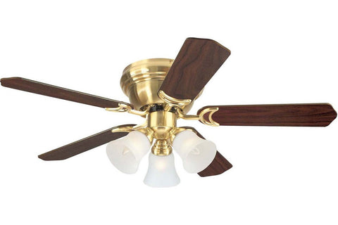 "Westinghouse 7850900 42"" Contempra in Satin Brass with Reversible Maple and Walnut Blades Indoor Rated Ceiling Fan"