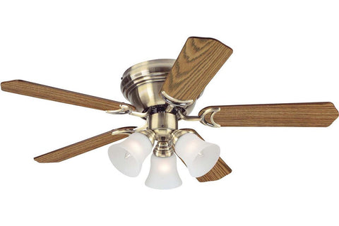 "Westinghouse 7851000 42"" Contempra in Antique Brass with Reversible Oak and Walnut Blades Indoor Rated Ceiling Fan"