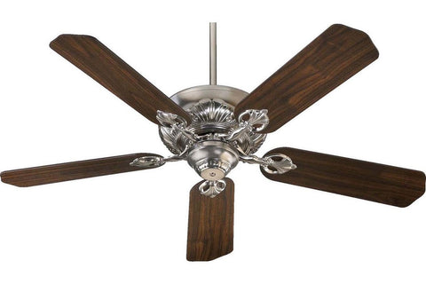 "Quorum 78525-65 52"" Chateaux in Satin Nickel with Reversible Teak and Walnut Blades Indoor Rated Ceiling Fan"