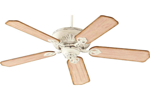 "Quorum 78525-70 52"" Chateaux in Persian White with Distressed Weathered Pine Blades Indoor Rated Ceiling Fan"