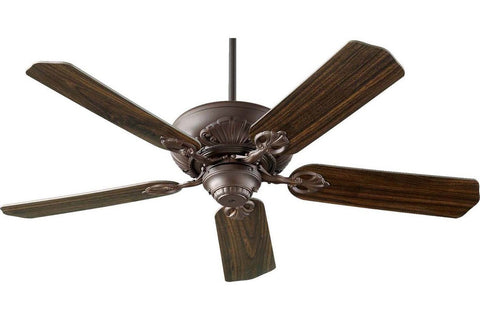 "Quorum 78525-86 52"" Chateaux in Oiled Bronze with Reversible Teak and Walnut Blades Indoor Rated Ceiling Fan"