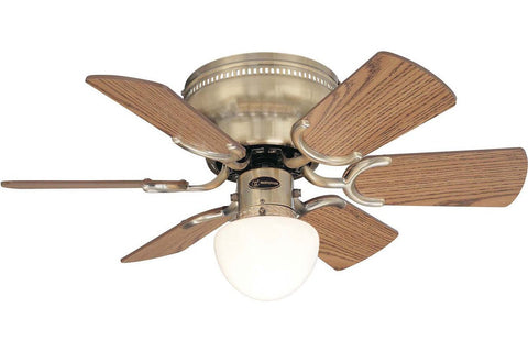 "Westinghouse 7860300 30"" Petite in Antique Brass with Reversible Oak and Walnut Blades Indoor Rated Ceiling Fan"