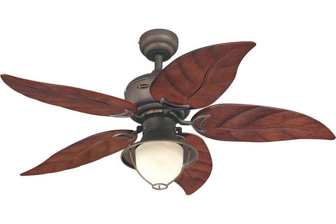 "Westinghouse 7861965 48"" Oasis in Oil Rubbed Bronze with Mahogany Leaf Blades Wet Rated Outdoor Ceiling Fan"