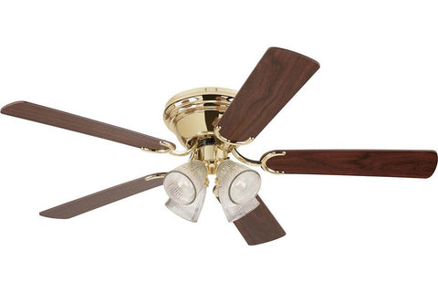 "Westinghouse 7871600 52"" Contempra in Polished Brass with Reversible Oak and Walnut Blades Indoor Rated Ceiling Fan"