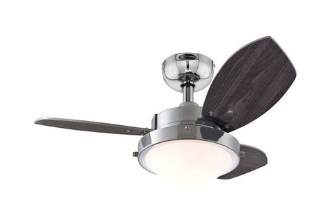"Westinghouse 7876300 30"" Wengue in Chrome with Reversible Beech and Wengue Blades Indoor Rated Ceiling Fan"
