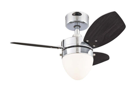 "Westinghouse 7878400 30"" Hayden in Chrome with Reversible Beech and Wengue Blades Indoor Rated Ceiling Fan"