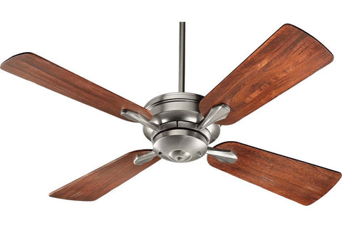 "Quorum 81524-65 52"" Valor in Satin Nickel with Distressed Vintage Walnut Blades Indoor Rated Ceiling Fan"