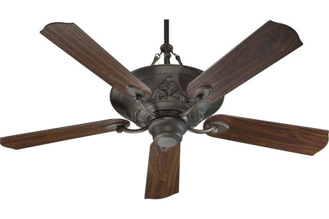 "Quorum 83565-86 56"" Salon in Oiled Bronze with Reversible Teak and Walnut Blades Indoor Rated Ceiling Fan"