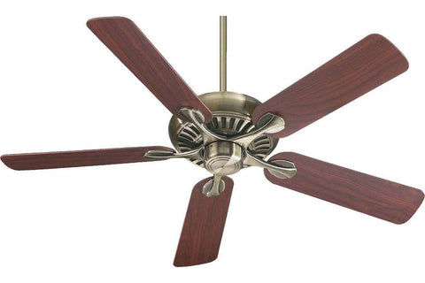 "Quorum 91525-4 52"" Pinnacle in Antique Brass with Reversible Medium Oak and Rosewood Blades Indoor Rated Ceiling Fan"