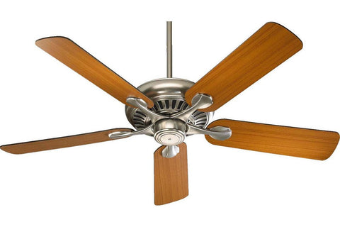 "Quorum 91525-65 52"" Pinnacle in Satin Nickel with Reversible Teak and Walnut Blades Indoor Rated Ceiling Fan"
