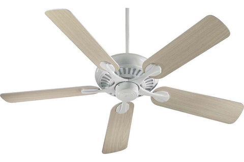 "Quorum 91525-6 52"" Pinnacle in White with Reversible Washed Oak and White Blades Indoor Rated Ceiling Fan"