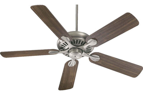 "Quorum 91525-92 52"" Pinnacle in Antique Silver with Reversible Rosewood and Walnut Blades Indoor Rated Ceiling Fan"