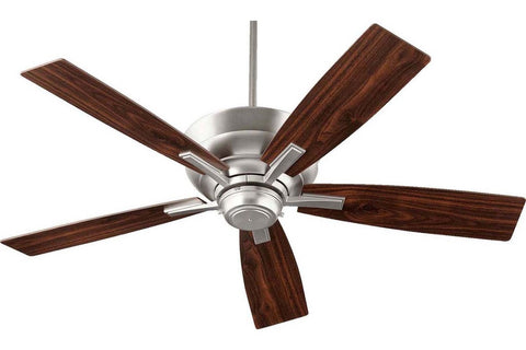 "Quorum 94525-65 52"" Mercer in Satin Nickel with Reversible Satin Nickel and Walnut Blades Indoor Rated Ceiling Fan"
