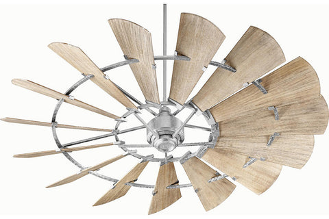 "Quorum 97215-9 72"" Windmill Ceiling Fan in Galvanized"