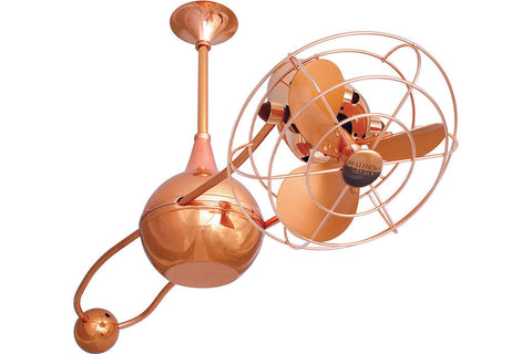 "Matthews Fan Co B2K-CP-MTL 39"" Brisa 2000 in Polished Copper with Aluminum Blades with Safety Cage Indoor Rated Ceiling Fan"
