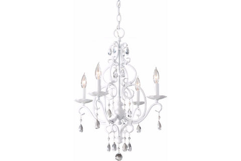 Murray Feiss F1904/4SGW Chateau Blanc Crystal Chandelier Light 4LT 240 Watts Semi Gloss White in Semi Gloss White with Bare Lamp