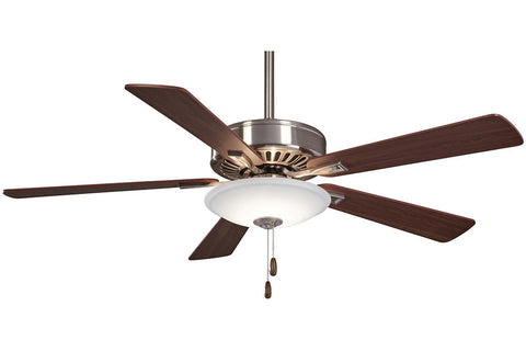 Minka Aire F656L-BN/DW CONTRACTOR in BRUSHED NICKEL/DARK WALNUT with MEDIUM MAPLE/DARK WALNUT Blades