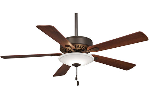 Minka Aire F656L-ORB CONTRACTOR in OIL RUBBED BRONZE with MEDIUM MAPLE/DARK WALNUT Blades