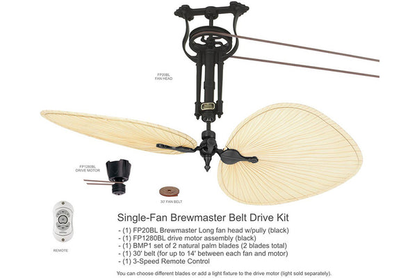 "Fanimation FP1280BL-FP20BL-BMP1 50"" Single Brewmaster Long Neck Belt Drive Ceiling Fan in Black"