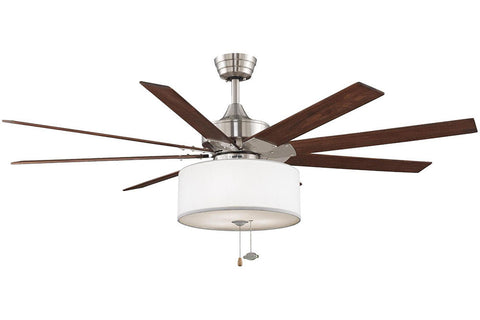 "Fanimation FP7910BN-LK113WH 63"" Levon Ceiling Fan in Brushed Nickel"