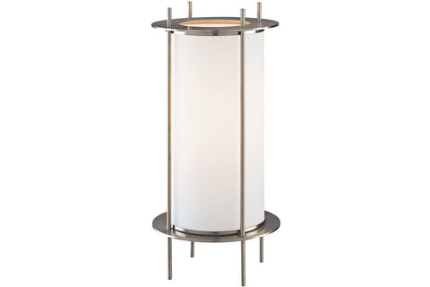George Kovacs P005-084 Portables Small Glass Table Lamp in Brushed Nickel with Etched Opal Glass