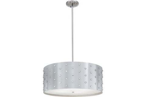 George Kovacs P034-077 Bling Bling Large Drum Pendant in Chrome with Perforated Steel Shade with Clear Crystals