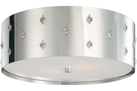 George Kovacs P036-077 Bling Bling Crystal Flush Mount Ceiling Light 2LT 80 Watts Chrome in Chrome with Perforated Steel Shade with Clear Crystals