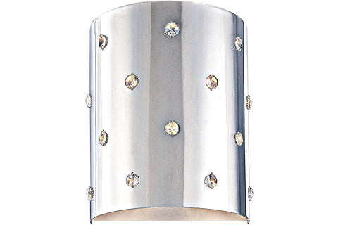 George Kovacs P037-077 Bling Bling Crystal Wall Sconce Lighting in Chrome with Perforated Steel Shade with Clear Crystals