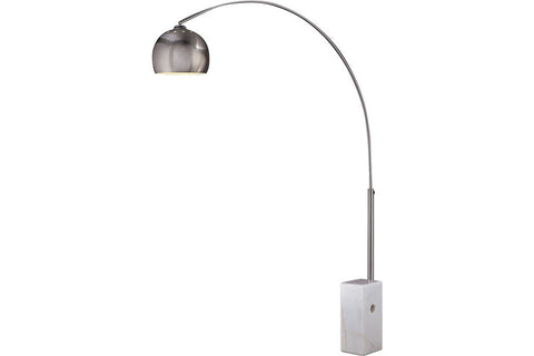 George Kovacs P054-084 Georges Reading Room Arc Floor Lamp 1LT 60 Watts Brushed Nickel in Brushed Nickel with Brushed Nickel Shade