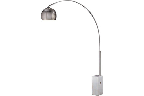 George Kovacs P054-144 Arc Lamp Tall Arc Floor Lamp in Brushed Stainless Steel with Brushed Stainless Steel Shade