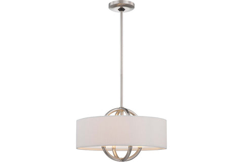 George Kovacs P075-084 Pendants Drum Pendant in Brushed Nickel with White Fabric Shade with Clear/Inside Etched Glass Diffuser