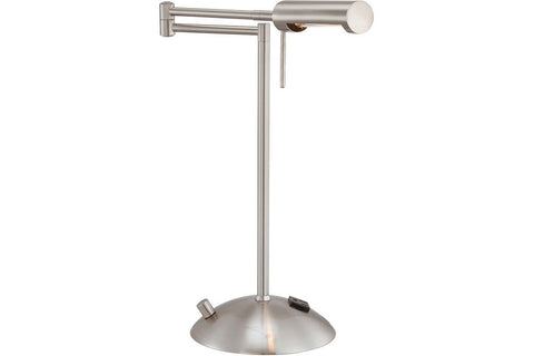 George Kovacs P101-084 Georges Reading Room Swing Arm Table Lamp Halogen Brushed Nickel in Brushed Nickel with Brushed Nickel Shade