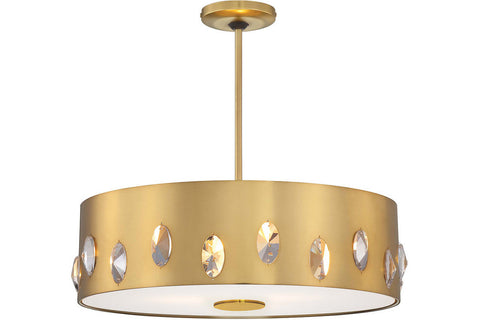 George Kovacs P1033-248 Pendants Large Drum Pendant in Honey Gold with Honey Gold Shade with Clear Crystals with Clear / Inside Etched Glass Diffuser