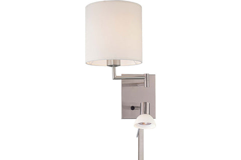 George Kovacs P1050-084 Georges Reading Room Swing Arm Wall Sconce 40w Brushed Nickel in Brushed Nickel with White Frosted Shade
