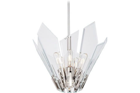 George Kovacs P1065-613 Glassy Bowl Pendant in Polished Nickel with Clear Beveled Glass