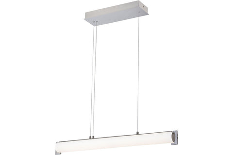 George Kovacs P1151-084-L Tube Chandelier Lighting in Brushed Nickel with Etched Opal White Glass