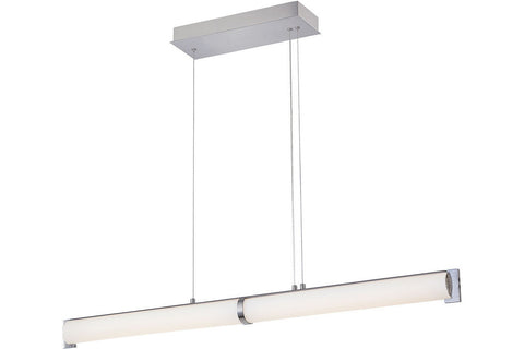 George Kovacs P1152-084-L Tube Glass Chandelier Lighting in Brushed Nickel with Etched Opal White Glass