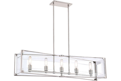 George Kovacs P1405-613 Crystal-Clear Chandelier Lighting in Polished Nickel with Clear Acrylic