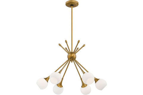 George Kovacs P1806-248 Pontil Glass Chandelier Lighting in Honey Gold with Etched White Glass