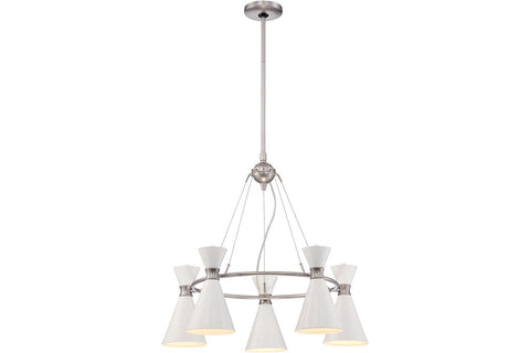 George Kovacs P1825-44F Conic 1 Tier Chandelier Lighting in Glitter Gloss White with Glitter Gloss White