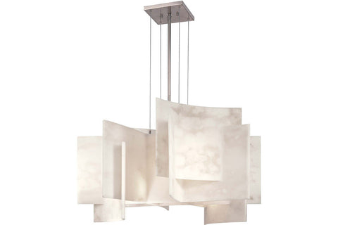 George Kovacs P382-084 Glass 1 Tier Chandelier Lighting in Brushed Nickel with Alabaster Dust Glass