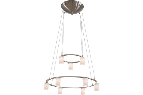 George Kovacs P8024-1-084 Glass Chandelier Light 9LT 43.2 Watts Halogen Brushed Nickel in Brushed Nickel with Cased Etched Opal Glass