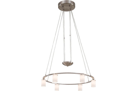 George Kovacs P8025-084 Counter Weights Glass Chandelier Light 6LT Halogen Brushed Nickel in Brushed Nickel with Cased Etched Opal Glass