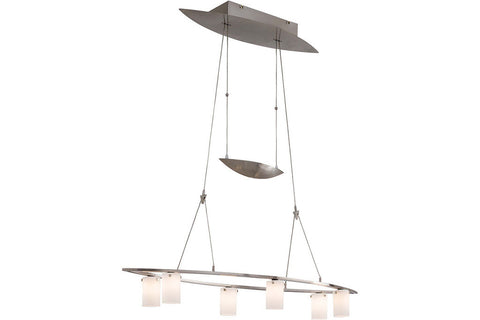 George Kovacs P8026-084 Counter Weights Glass Chandelier Light 6LT Halogen Brushed Nickel in Brushed Nickel with Cased Etched Opal Glass