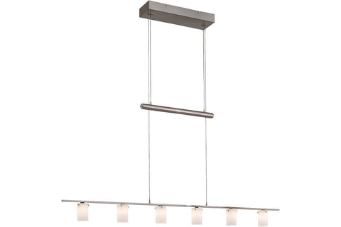 George Kovacs P8027-084 Counter Weights Glass Chandelier Light 6LT Halogen Brushed Nickel in Brushed Nickel with Cased Etched Opal Glass
