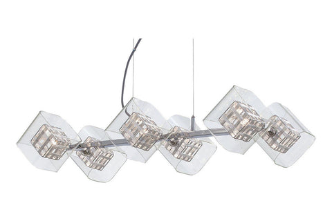 George Kovacs P803-077 Jewel Box Glass 1 Tier Chandelier Lighting in Chrome with Chrome with Clear Glass