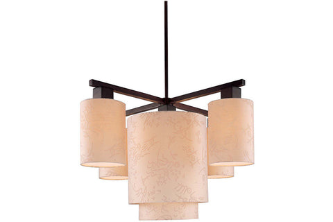 George Kovacs P8085-615 Kimono 1 Tier Chandelier Lighting in Antique Dorian Bronze with Beige Silk